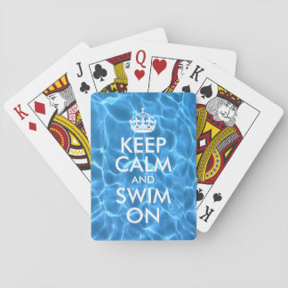 Blue Pool Water Keep Calm and Swim On Playing Cards
