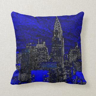 Blue Pop Art New York City Pillow