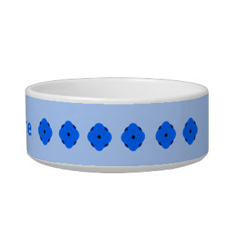 Blue poppy pattern add name cat food bowls