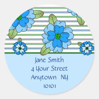 Blue Posy Address Label Round Sticker