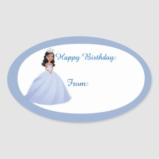 Blue Princess Birthday Gift Tag Stickers