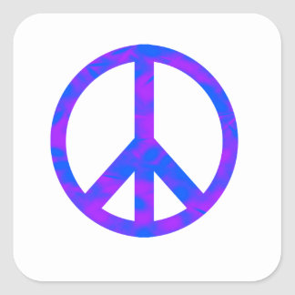 Blue/Purple Abstract Peace Symbol Square Sticker