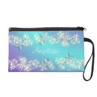 Blue purple beach starfish name wristlet purse