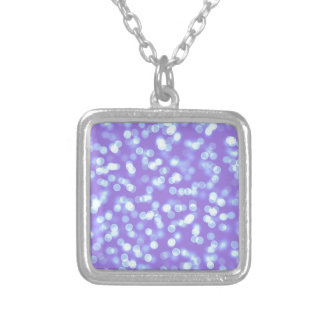 Blue Purple Bokeh Silver Plated Necklace