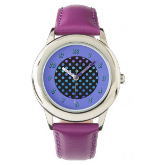 Blue Purple Dots on Black Watch