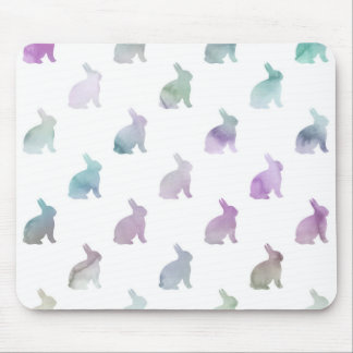 Blue Purple Pastel Watercolor Bunny Background Mouse Pad