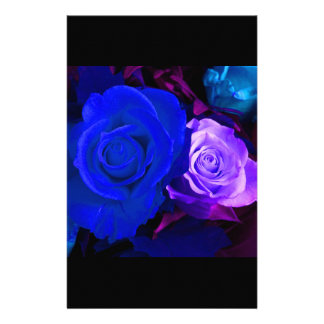 Blue Purple Rose Personalized Stationery