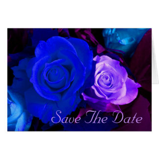 Blue Purple Rose Save The Date Greeting Card