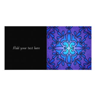 Blue Purple Stainded Glass Style Design Photo Card