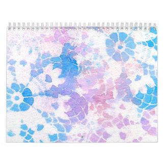 Blue Purple Watercolor Tie Dye Rainbow Calendar