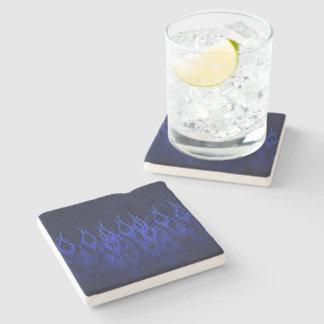 Blue Racing Flames on Carbon Fiber Print Stone Coaster