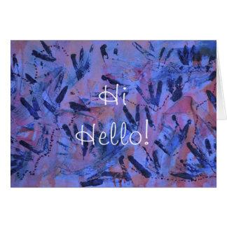 Blue Rainbow Hi Hello Greeting Card by Janz