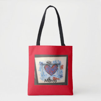 Blue red abstract painting heart bag