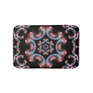 Blue red and black kaleidoscope bath mat