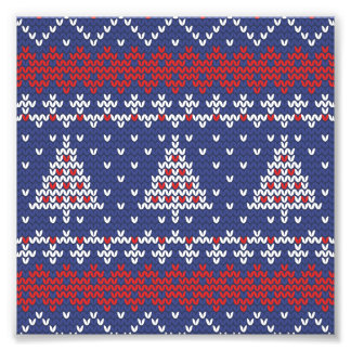 Blue  Red and White Christmas Tree Knitted Pattern Photo Print