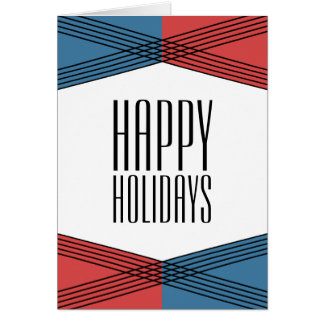 Blue Red Colorful Deco Holiday Card