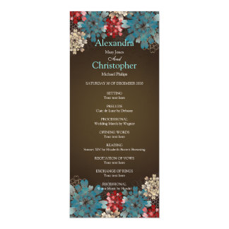 Blue Red & Cream Flowers Retro Wedding Program