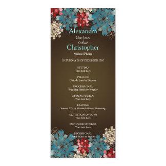 Blue Red & Cream Flowers Retro Wedding Program 10 Cm X 24 Cm Invitation Card
