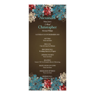 Blue Red Cream Flowers Retro Wedding Program Custom Invitation