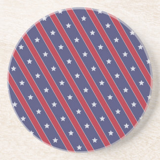 Blue Red Stripes Stars pattern Coaster