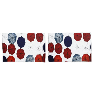blue red white abstract  umbrellas pillow cases