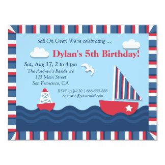 "Blue Red White Nautical Theme Birthday Party 4.25"" X 5.5"" Invitation Card"