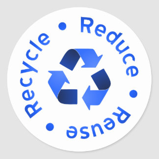 Blue Reduce Reuse Recycle Sticker