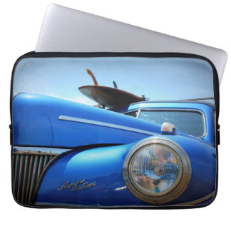 Blue Retro Cruiser Car Laptop Computer Sleeves