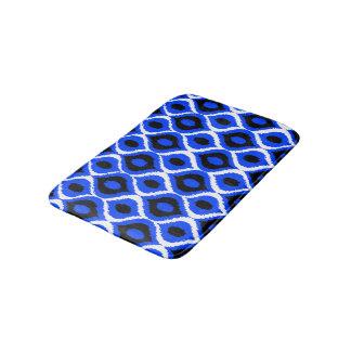Blue Retro Geometric Ikat Tribal Print Pattern Bath Mats