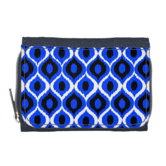 Blue Retro Geometric Ikat Tribal Print Pattern Wallet
