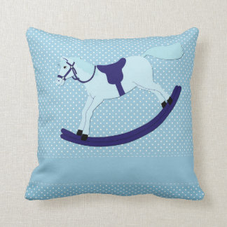 "Blue Rocking Horse Throw Pillow 16"" x 16"""