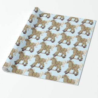 Blue Rocking Horse Wrapping Paper