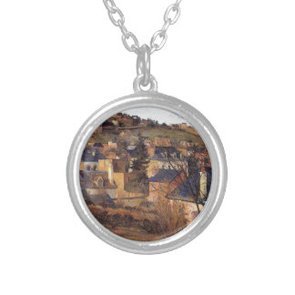 Blue roofs of Rouen by Paul Gauguin Round Pendant Necklace