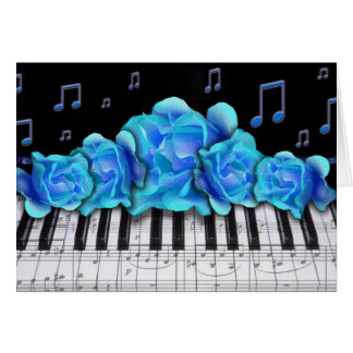 Blue Roses Piano Keyboard and Music Notes