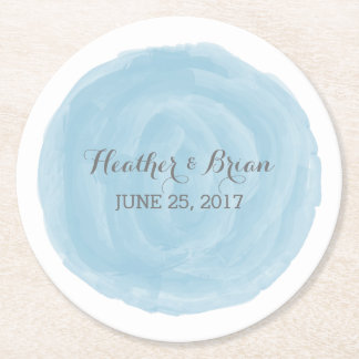 Blue Round Watercolor Wedding Paper Coasters
