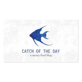 Blue Rubber-Stamped Fish Nautical Themed Business Card Template