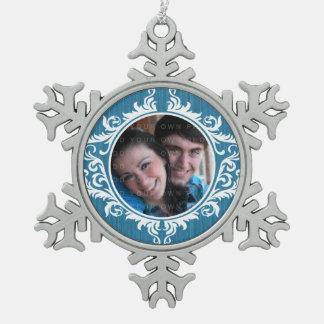 Blue Rustic Swirls Holiday Photo Ornament