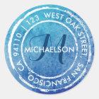 Blue Rustic Watercolor Monogram | Round Address Classic Round Sticker