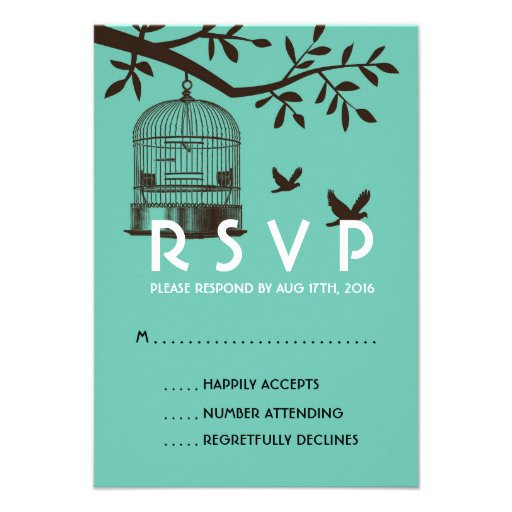 Blue Rustic Wedding RSVP Card with Bird Cage