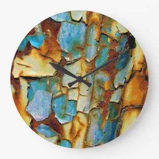 Blue Rusty Chipping Paint Wall Clock