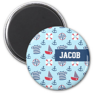 Blue Sailboat Anchor Nautical Theme Pattern 6 Cm Round Magnet