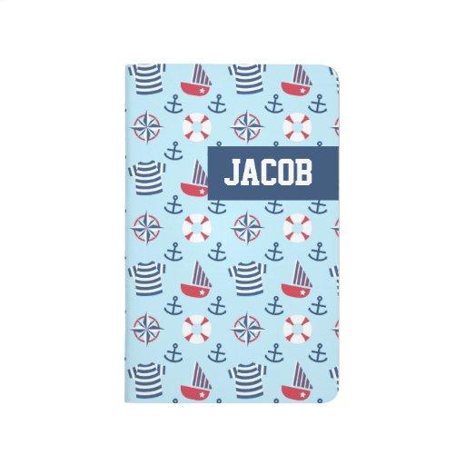 Blue Sailboat Anchor Nautical Theme Pattern Journal