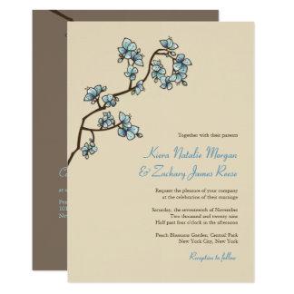 Blue Sakura Peach Blossoms Asian Wedding Invite