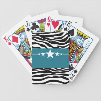 Blue Sassy Star Zebra Playing Cards