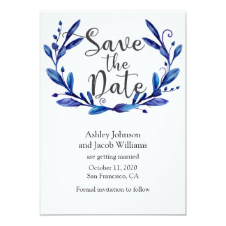 Blue save the date. Winter wedding announcement