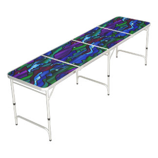 Blue Seascape Stained Glass Abstract Pong Table