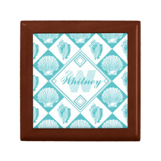 Blue Seashell Diamond Nautical Beach Monogram Small Square Gift Box