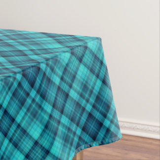 Blue shaded plaid pattern tablecloth