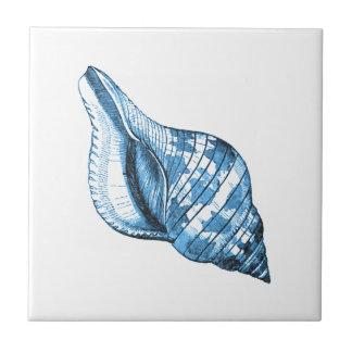 Blue shell nautical coastal ocean beach gifts tile