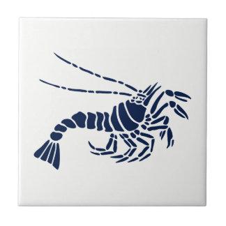 Blue Shrimp on White Ceramic Tile